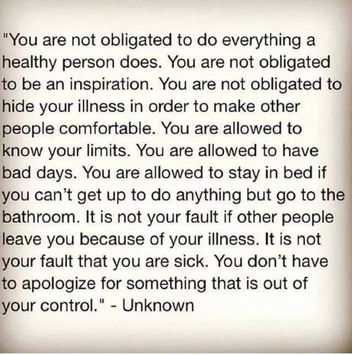 chronic illness you are not obligated